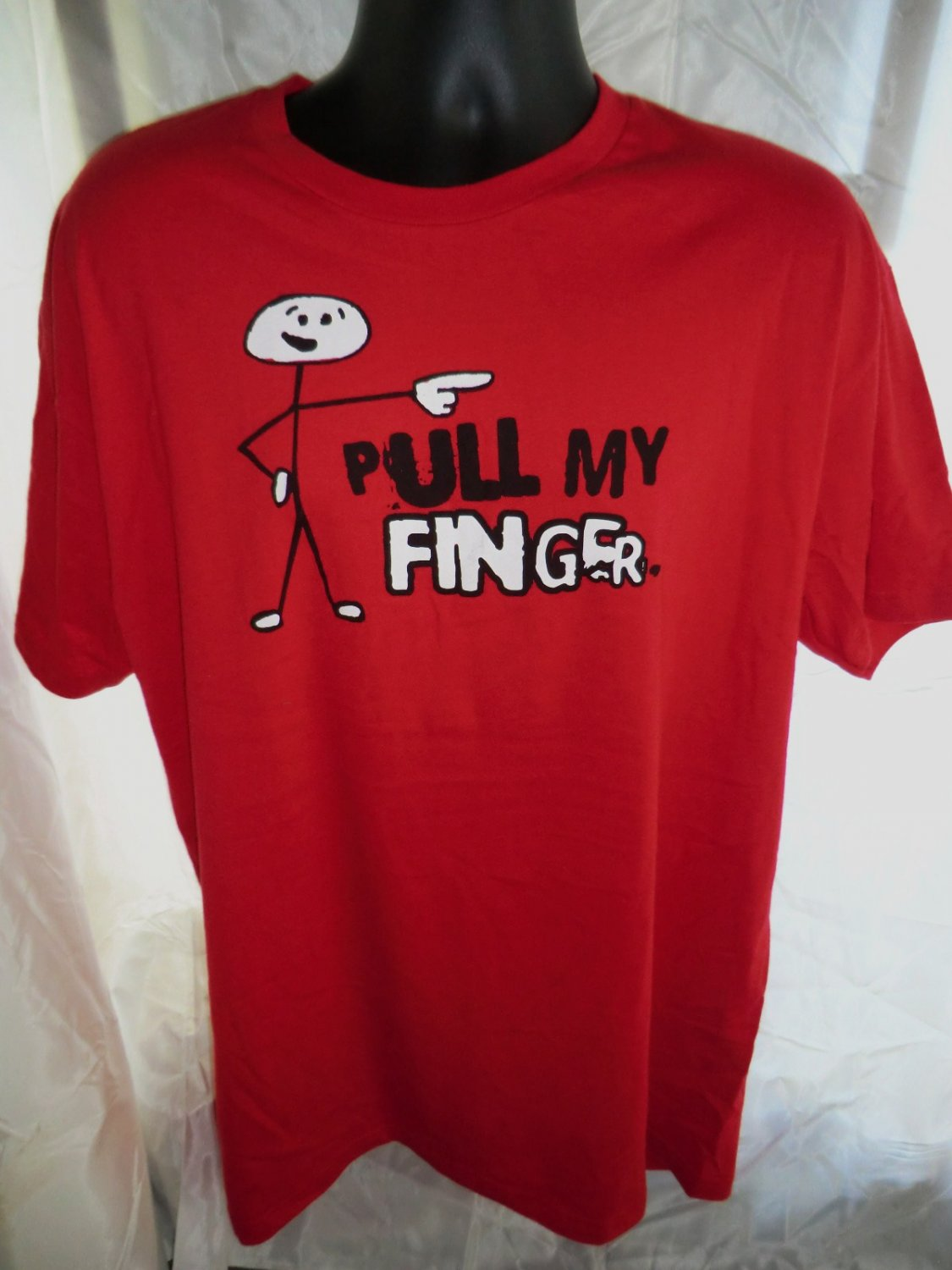 Funny PULL MY FINGER Red Size Large T-Shirt