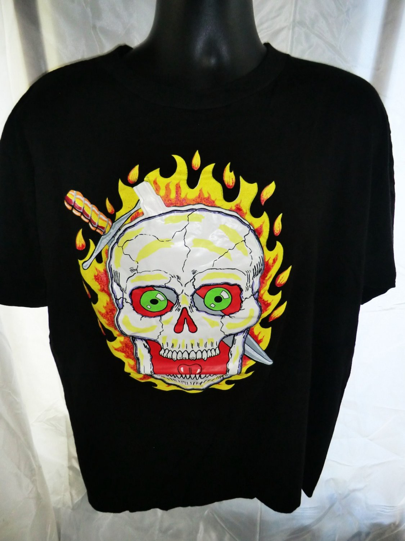 Halloween Scary Skull Black T-Shirt Size XL Cheap costume!