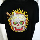 Halloween Scary Skull Black T-Shirt Size XL Cheap costume!