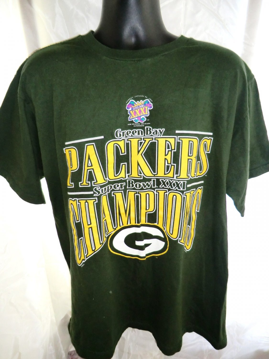 Green Bay Packers Super Bowl XXXI  Champions T-Shirt Size Large XL 1997