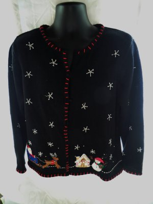 Holiday Appliqué Ugly Decorated Black Sweater Size Large / XL