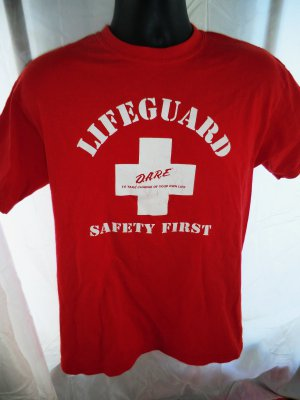 Rare Red DARE T-Shirt Size Medium ~  Lifeguard Safety First Take Charge