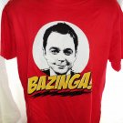 BIG BANG Red T-Shirt BAZINGA!  Dr. Sheldon Cooper Size Large