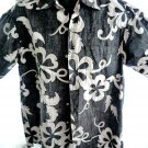 Reverse Hawaiian Button-Down Shirt Size Medium Go Barefoot Black White