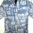 Reverse Hawaiian Pull-Over Shirt Size Large  Go Barefoot Blue White Floral