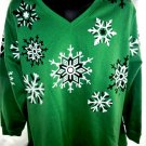 UGLY Holiday Green SWEATSHIRT Size XXL / 2XLSnowflakes
