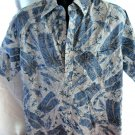 Reverse Hawaiian Pull-Over Shirt Size Large  Go Barefoot Blue White Palm Trees