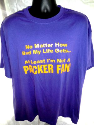 Funny Minnesota Vikings T-Shirt ~ Not a Packer Fan ~ Size XXL