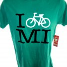 NEW Green T-Shirt ~ I BIKE MI ~ Michigan Size Small