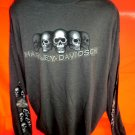 Harley Davidson Long Sleeve T-Shirt Size XXL (2XL) Minot ND Skulls