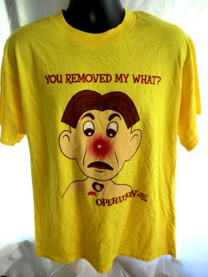Funny OPERATION Game T-Shirt YOU REMOVED MY WHAT? Size Large