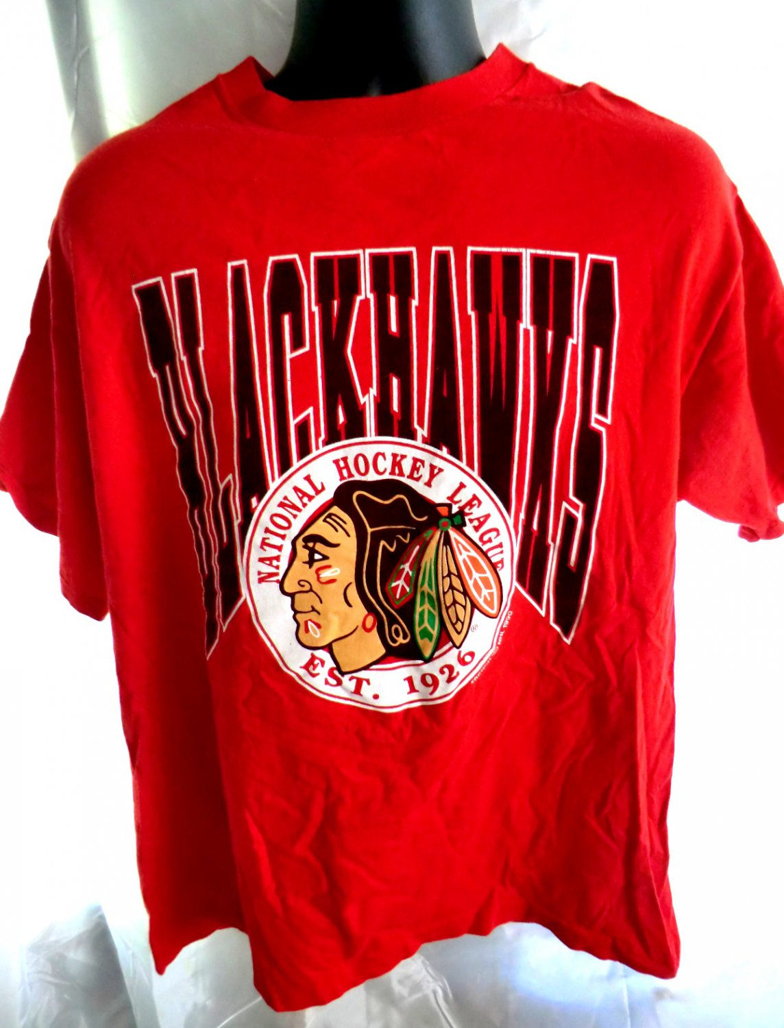 Vintage 1990 blackhawks t shirt size large for Vintage blackhawks t shirt