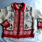 Ugly Christmas Sweater Skier NWT Hand Knitted Size Large NEW with Tag