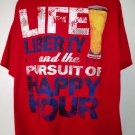 Fun ~ Life Liberty Pursuit of Happy Hour T-Shirt Think BEER Size 3XL XXXL
