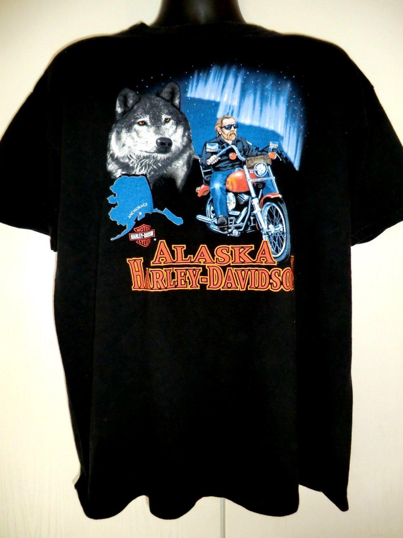 Black Harley Davidson Alaska Dealer T-Shirt XL 1996 Wolf