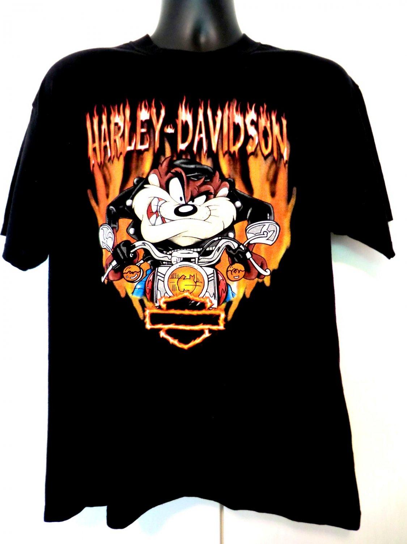 SOLD! Harley Davidson Medium or Large Black T-Shirt Boston Dealer Warner Bros Taz