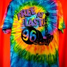 Cool Tie Dye Mora Minnesota High School T-Shirt Size XL Class of 1996 Free At Last