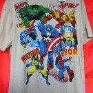 NEW Marvel Comics T-Shirt Size XL Hulk, Iron Man, Thor, Wolverine, Spiderman