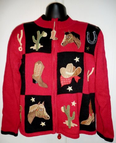 Fun Ugly Western Sweater Size Large Cowboy Boots Horse 2005 Cowgirl