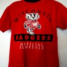 Vintage 1995 Wisconsin Bagders Schedule T-Shirt Size Large