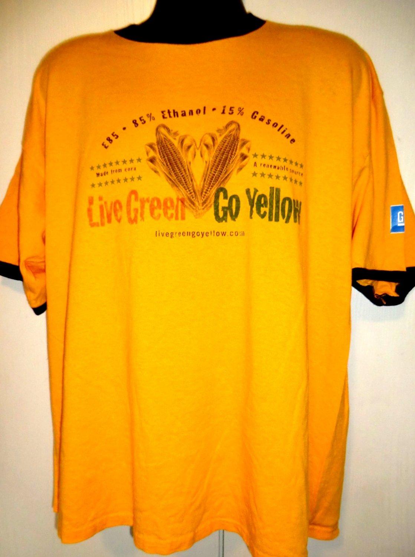 Bi-Fuel Live Green  Go Yellow Promo XL T-Shirt  Alternative Global Fuel Eco Green