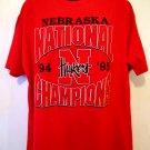 Nebraska CornHuskers  Huskers XXL (2XL) Red T-Shirt National Champions 1994 1995