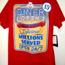 DINER OPEN T-Shirt Size Large Open 24/7 Millions Served NEW! NWT