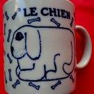 Vintage 1978 LE CHIEN TIGRE Dog Coffee Cup Mug Blue