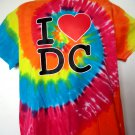Tie Dyed I HEART DC T-Shirt Size Large Inside Beltway