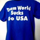 TEAM WORLD SUCKS Go USA T-Shirt Size Large