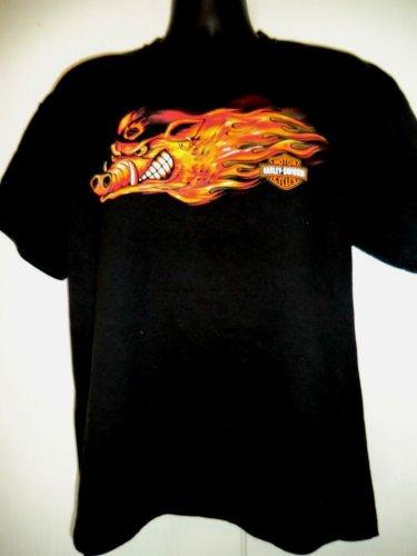 Harley Davidson Flaming Hog Dealer T-Shirt Size Large