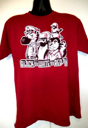 Black White and Red All Over Funny Communist T-Shirt Size Large
