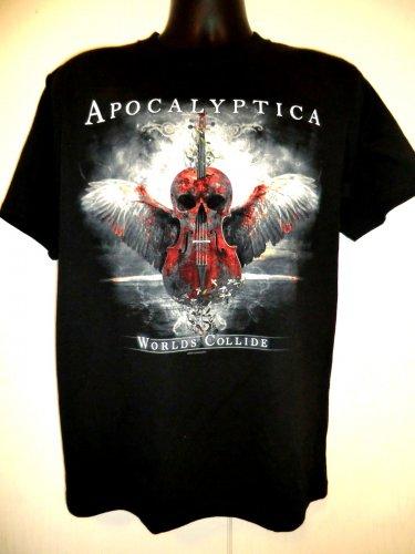 Rare Apocalyptica Concert Tour T-Shirt Size Medium ~ WORLDS COLLIDE