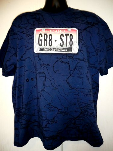 Idaho T-Shirt Size XL Map License Plate GR8 ST8