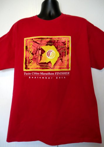 2002 Twin Cities Marathon Finisher T-Shirt Size XL Runner