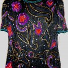 Vintage Lawrence Kazar Beads & Sequin Beaded / Sequin Black Top Size Small NWT