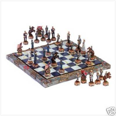 Civil War Chess Set - very detailed - spectacular gift!