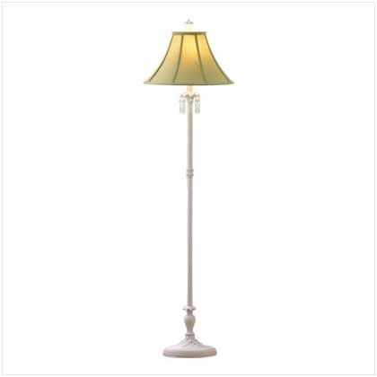 "White Floor Lamp - shabby elegance - 64"" high - BEAUTIFUL!!"