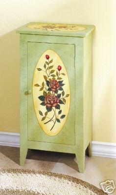 Victorian Rose Paneled Cabinet - 3 shelf Victorian Cabinet