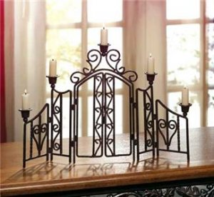 Scrollwork Candleholder Screen - unique tabletopper!