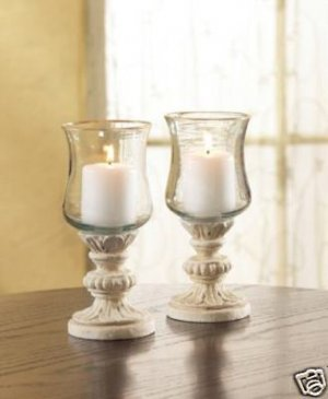 Gold Edged Hurricane Lamps - Set of 2 Hurricane Lamps - SHIPS FREE!!