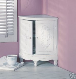 Shabby Corner Curio Cabinet - corner cabinet - wood cabinet.
