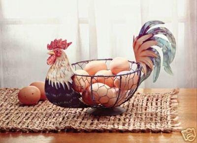 Metal Rooster Basket - Country Decor - Rooster Basket