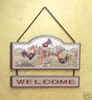 Rooster Welcome Sign - Rooster Sign for Country Decor