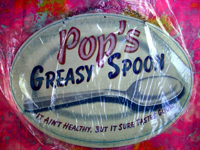 NEW---POP'S GREASY SPOON CAFE RETRO VINTAGE METAL TIN SIGN