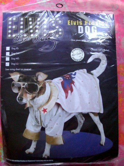 SOLD! New White ELVIS PRESLEY COSTUME for your Dog with Cape  Size LARGE NIP