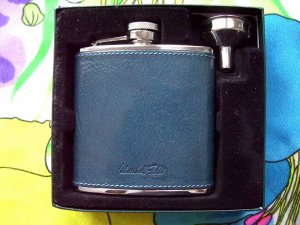 Rare Marshall Field's Flask with Blue Leather NEW in Box!