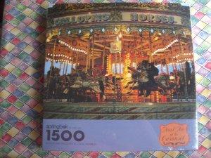 NEW Sealed Springbok 1500 Piece Puzzle Meet Me at Carousel PZL9007 MINT!