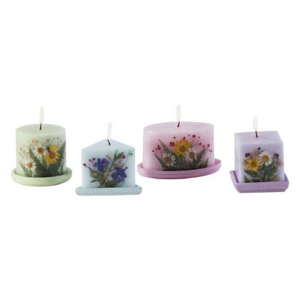 4 pc Floral Candle Set