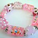 Spotted Pink Bead Bracelet
